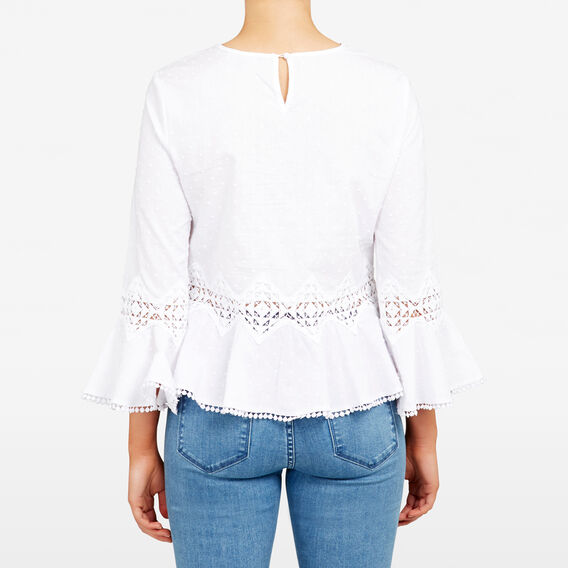 DOBBY LACE PEASANT BLOUSE  SUMMER WHITE  hi-res
