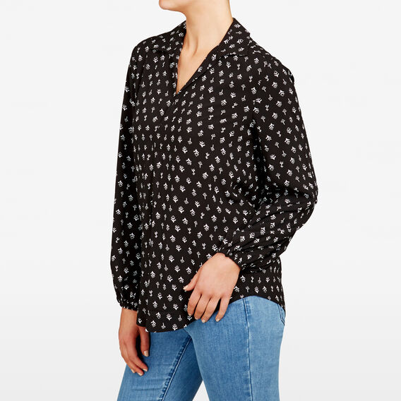 BELL SLEEVE PRINTED SHIRT  BLACK/SUMMER WHITE  hi-res