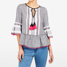 TEXTURED PEASANT SHIRT  SUM WHT/BLACK/FUCHSI  hi-res