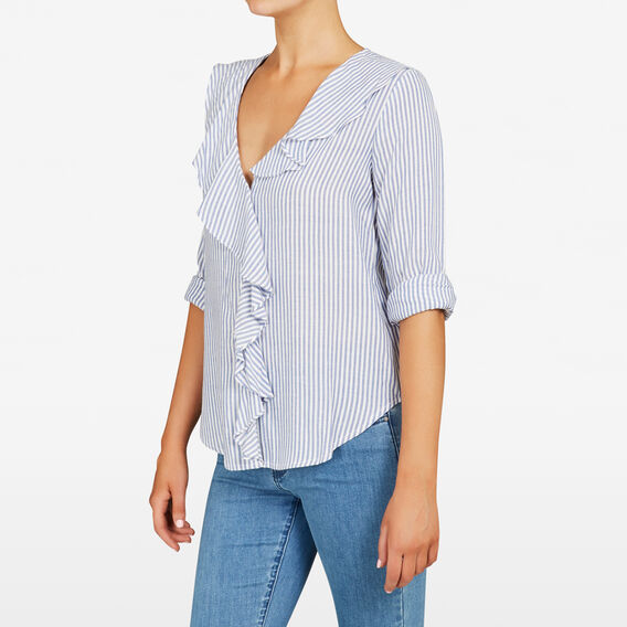 STRIPE RUFFLE FRONT SHIRT  SUMMER WHITE/BLUE  hi-res