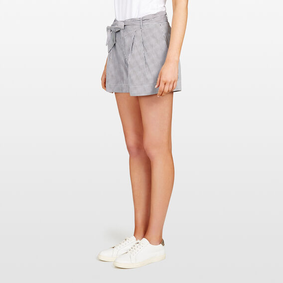 TIE WAIST PINSTRIPE SHORT  BLACK/SUMMER WHITE  hi-res