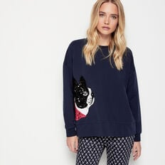 BOSTON BULLDOG SEQUIN SWEAT  NOCTURNAL MULTI  hi-res