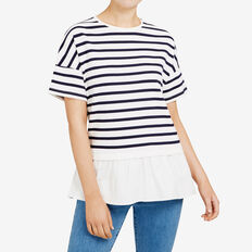 STRIPE SPLICED TEE  SUMMER WHITE/NOCTURN  hi-res