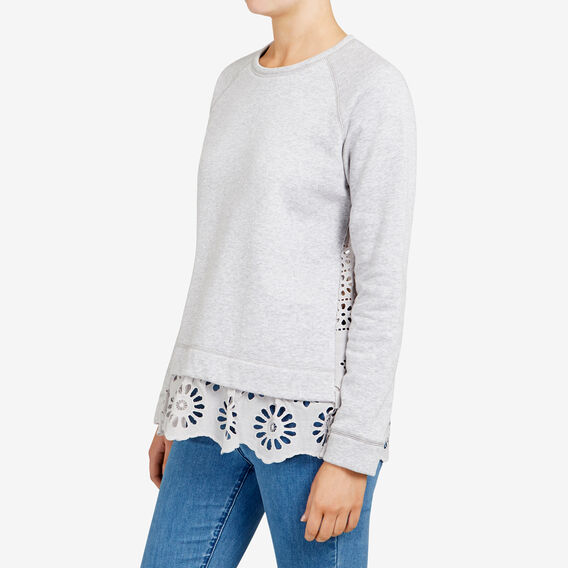 BROIDERIE LACE BACK SWEAT  GREY MARLE  hi-res