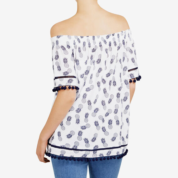 PINEAPPLE PRINTED OFF SHOULDER TEE  SUMMER WHITE/NOCTURN  hi-res