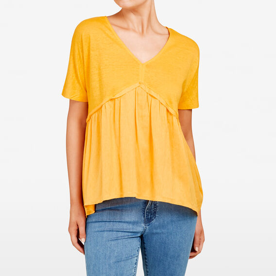 LINEN SPLICED TEE  TUMERIC  hi-res