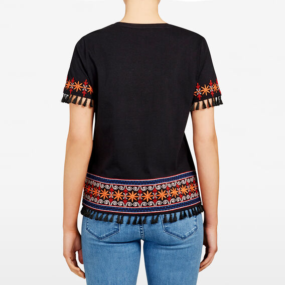 AZTEC EMBROIDERED TEE  BLACK MULTI  hi-res