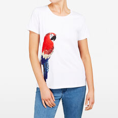 EMBELLISHED PARROT TEE  SUMMER WHITE/MULTI  hi-res