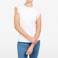 FLUTTER SLEEVE TEE  SUMMER WHITE  hi-res