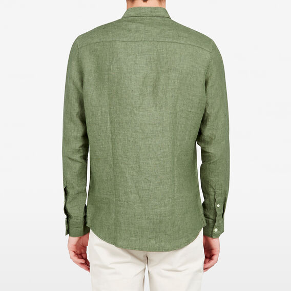 LINEN REGULAR FIT SHIRT  OLIVE  hi-res