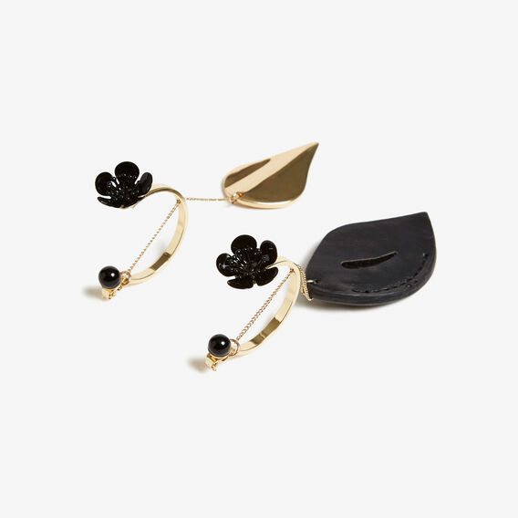 MISMATCHED DROP EARRING  GOLD/BLACK  hi-res
