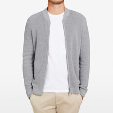 KNITTED BOMBER  GREY MARLE  hi-res