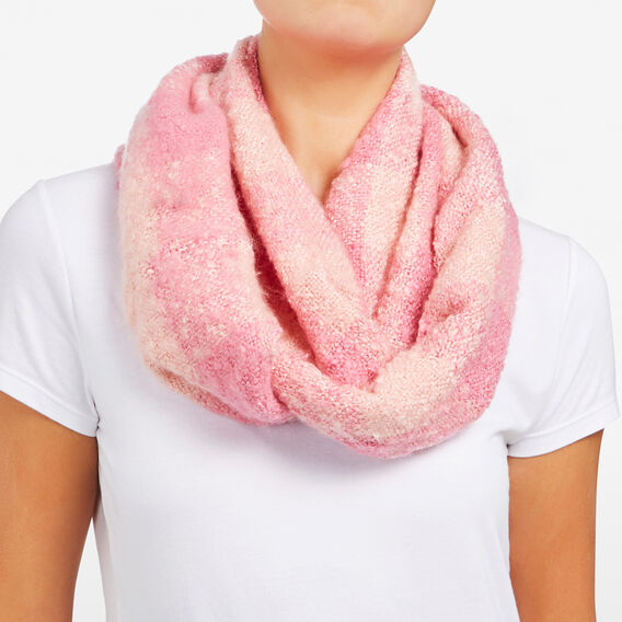 CHECKED INFINITY SCARF  BLUSH/ ORCHID PINK  hi-res