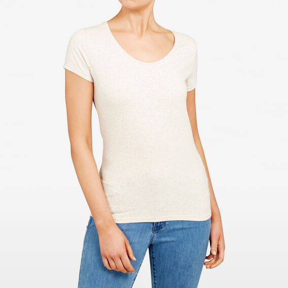 HAYLEY STRETCH SCOOP NECK TEE  STONE  hi-res