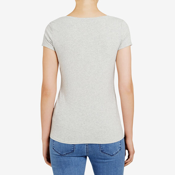 HAYLEY STRETCH V NECK TEE  GREY MARLE  hi-res