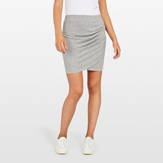 SIDE ROUCHED SKIRT  GREY MARLE  hi-res