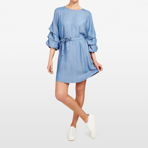 ROUCHED SLEEVE CHAMBRAY DRESS  CHAMBRAY  hi-res