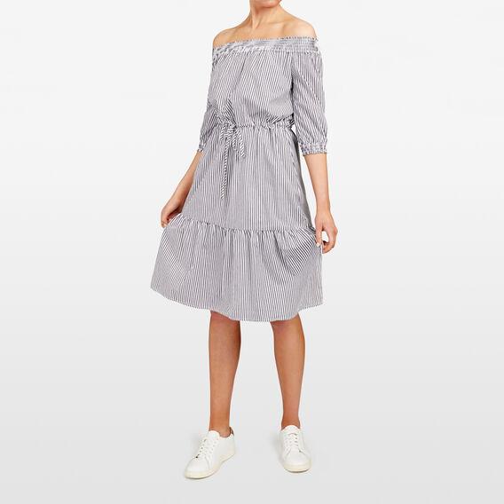 STRIPE OFF SHOULDER DRESS  SUMMER WHITE/BLACK  hi-res
