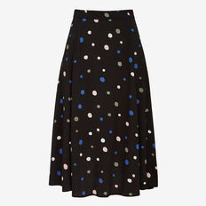 FALLING SPOT PRINTED MIDI SKIRT  BLACK MULTI  hi-res