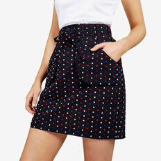 DOBBY TIE WAIST SKIRT  BLACK/MULTI  hi-res