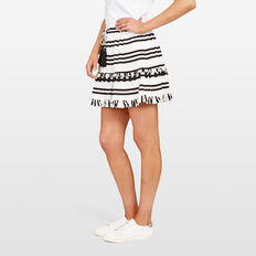STRIPE TASSEL SKIRT  SUMMER WHITE/BLACK  hi-res