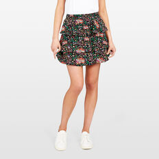 PRINTED RA RA SKIRT  BLACK MULTI  hi-res