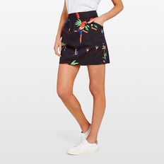 PRINTED COTTON SKIRT  BLACK/MULTI  hi-res
