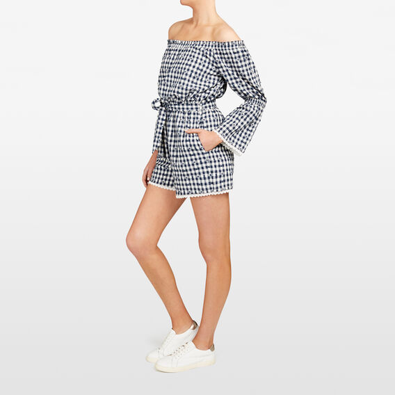 GINGHAM BELL SLEEVE PLAYSUIT  SUMMER WHITE/NOCTURN  hi-res