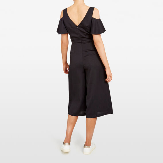 FLUTTER SLEEVE JUMPSUIT  BLACK  hi-res