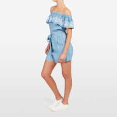 EMBROIDERED OFF SHOULDER PLAYSUIT  CHAMBRAY  hi-res