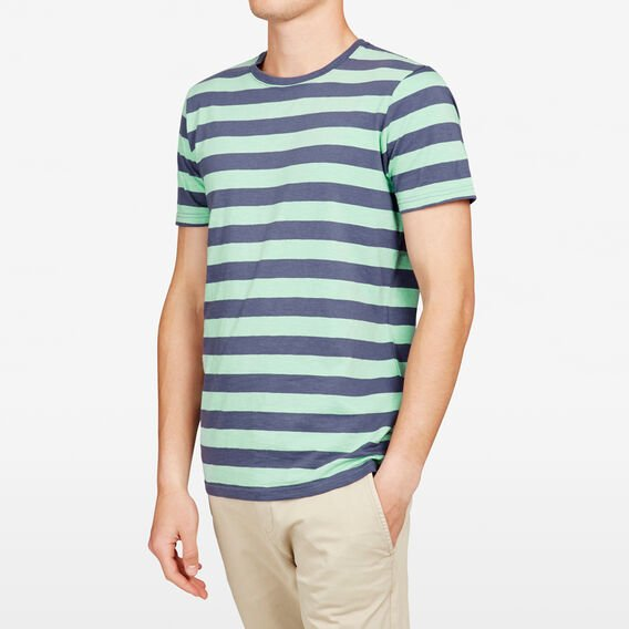 BEACH STRIPE CREW NECK T-SHIRT  SPEARMINT/BLUE  hi-res
