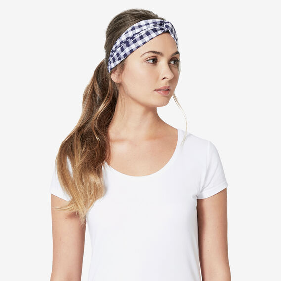 CHECK HEADBAND  NAVY/WHITE  hi-res