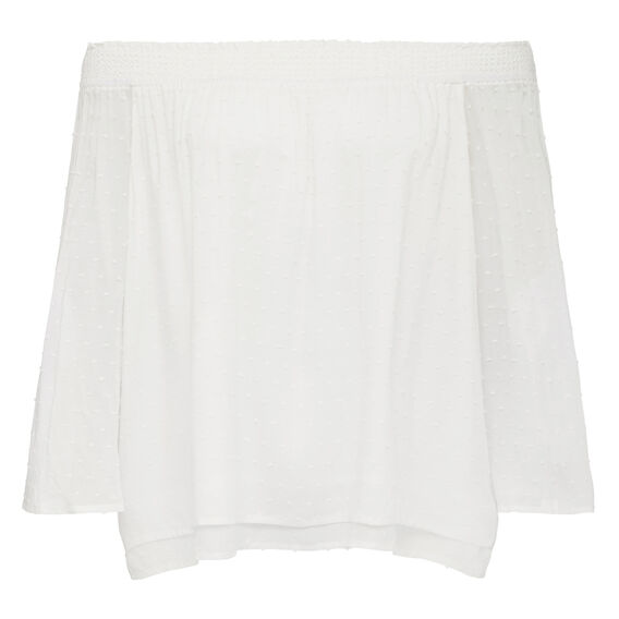 DONT BE DOBBY OFF SHOULDER TOP  SUMMER WHITE  hi-res
