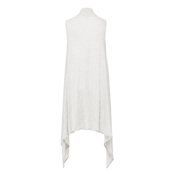 LIGHT WEIGHT REVERSIBLE PONCHO  GREY MARLE/WHITE  hi-res