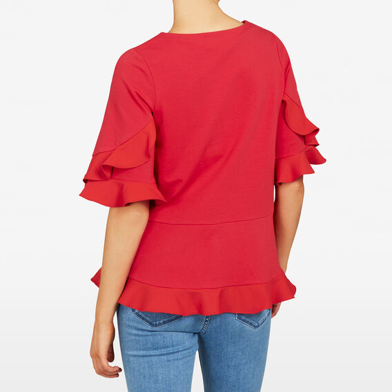 RUFFLE WOVEN TEE  STRAWBERRY  hi-res