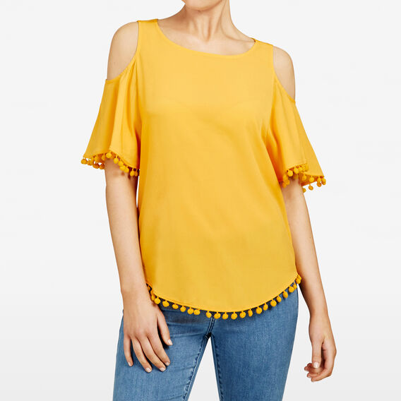 COLD SHOULDER POM POM TEE  TUMERIC  hi-res
