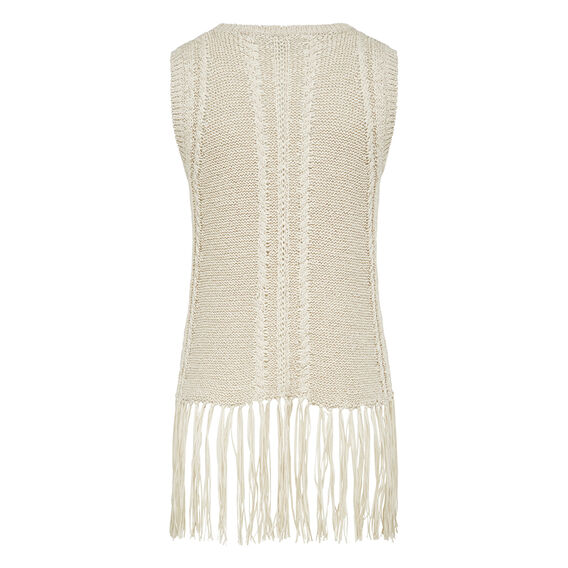 FRINGED SLEEVELESS KNIT  NATURAL  hi-res