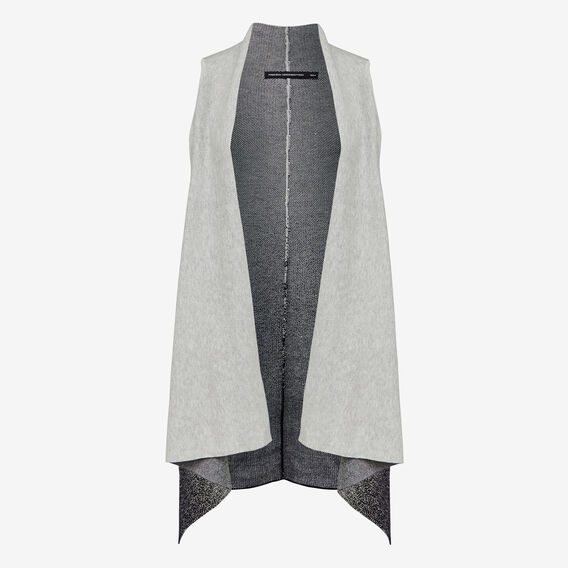 GRADUATED SPECKLE KNIT PONCHO  GREY/NAVY  hi-res