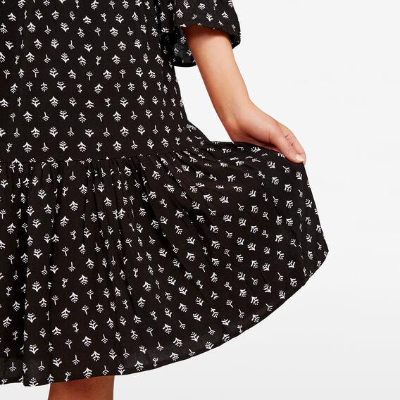 OFF SHOULDER PRINTED DRESS  BLACK/SUMMER WHITE  hi-res