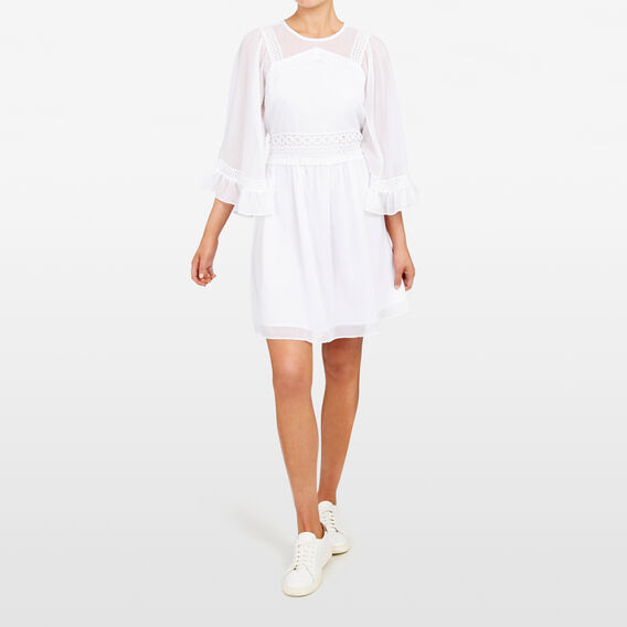 BABYDOLL FRILL SLEEVE DRESS  SUMMER WHITE  hi-res
