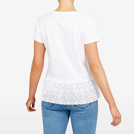 LACE HEM TEE  SUMMER WHITE  hi-res