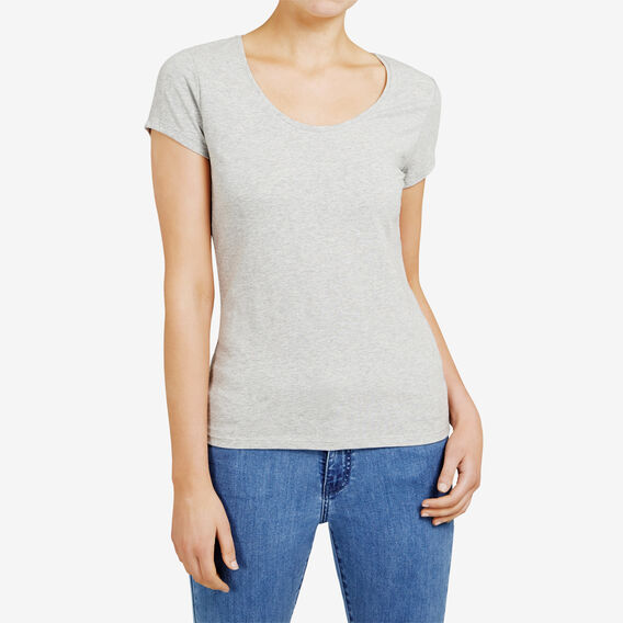 HAYLEY STRETCH SCOOP NECK TEE  GREY MARLE  hi-res