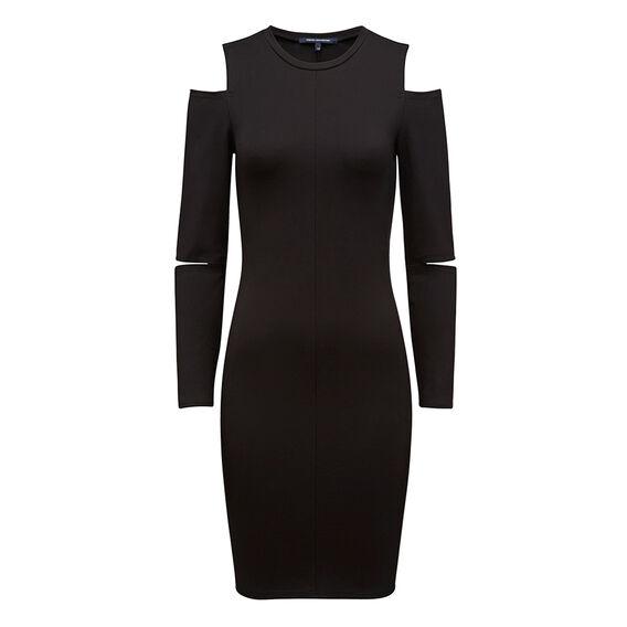 CUT OUT SHOULDER DRESS  BLACK  hi-res