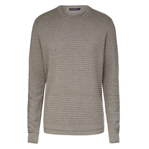 RIBBED COTTON CREW NECK KNIT  LIGHT GREY MARL  hi-res