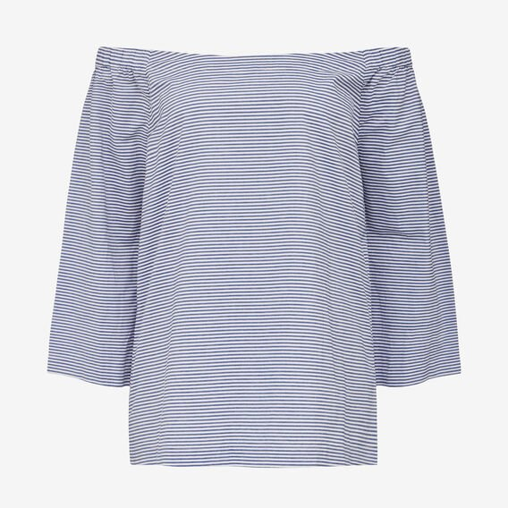 MINI STRIPE OFF SHOULDER TOP  CHAMBRAY/SUMMER WHIT  hi-res