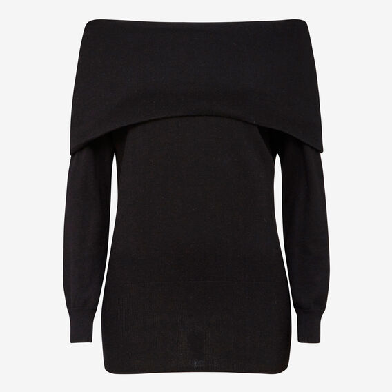 OFF SHOULDER KNIT  BLACK  hi-res