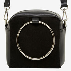 METAL HANDLE BAG  BLACK  hi-res