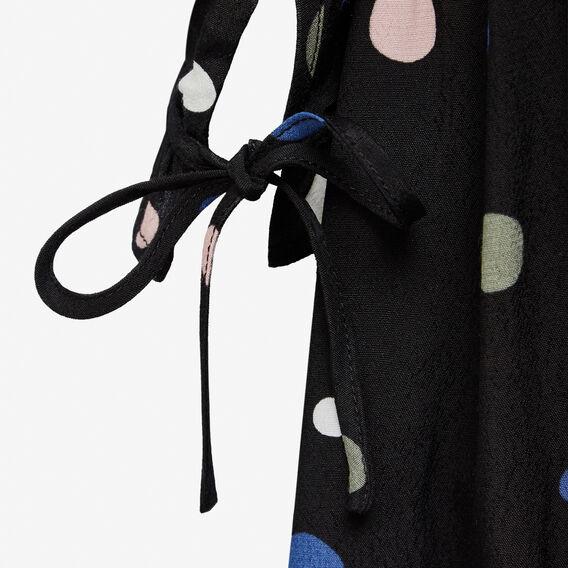 FALLING SPOT PRINTED SWING DRESS  BLACK MULTI  hi-res
