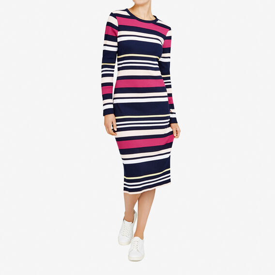 RIB STRIPE MIDI DRESS  NOCTURNAL/MULTI  hi-res