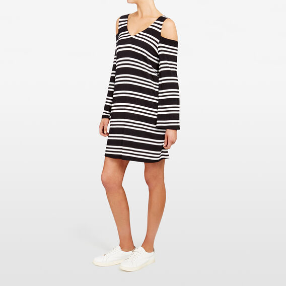 STRIPE BELL SLEEVE DRESS  BLACK/SUMMER WHITE  hi-res